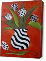 Black And White Tulips On Red As Canvas