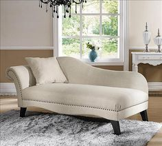 Baxton Phoebe Beige Linen Chaise Lounge with pillow