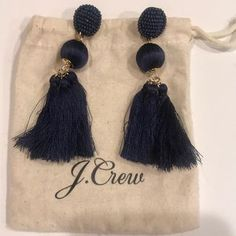 J. Crew Jewelry | J Crew Navy Tassel Earrings | Poshmark Tassel Earrings, Drop Earrings, Tassels, J Crew, Polka Dots, Women Jewelry, Navy, Outfit, Things To Sell