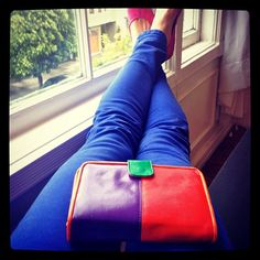 #Colorblocking with my mother's 1980's purse & my cobalt jeans & fuschia #tieks