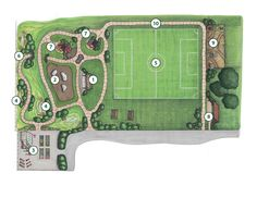 Project IDEA has a number of master plan features that make it unique. Some of the key features include the following and are called out in the rendering above:  1. Learning amphitheater  2. Pride Rock/ Playground Equipment  3. Garden Lab  4. Rain Garden  5. Soccer Field  6. Lion's Den Tunnel  7. Clubhouses  8. Pavilion  9. Prairie  10. Discovery Path
