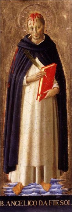 Peter Martyr - Artist: Fra Angelico Start Date: 1438 Completion Style: Early Renaissance Series: San Marco Altarpiece Genre: religious painting Technique: tempera Material: panel Fra Angelico, Italian Renaissance, Renaissance Art, Religious Icons, Religious Art, Verona, Saint Dominique, Catholic Priest, Roman Catholic