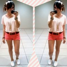 Pink :) #OOTD october 2 2014   // top and shorts from Foreverr 21 // shoes from Vans // belt from JCPenney // owl necklace from Forever 21