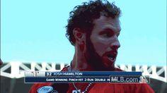Rangers accidentally give reporter Gatorade shower after Josh Hamilton's walk-off double   MLB.com