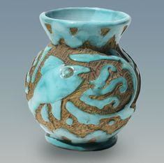 Italian Pottery Vase Abstract Fish Carved Design by Pleasant Valley. Italian-Pottery-Vase-473x470