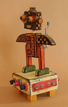 Robot Music Box Brahm's Lullaby by StreetDogArtStudio on Etsy, $55.00