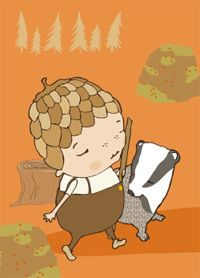 My badger friend - postcard illustration by Terese Bast. Badger, Fairytale, Friends, Illustration, Fictional Characters, Art, Fairy Tail, Amigos, Art Background