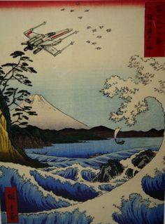 An XWing sighting in feudal Japan. van DavidVancookArtwork op Etsy