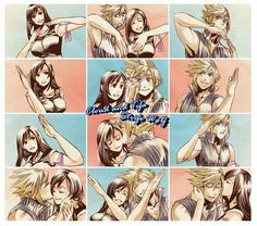 Cloud and Tifa, this is so cute <<< I'm totally gonna make a TiYu version of this Fantasy Games, Fantasy Characters, Fantasy, Fantasy Artwork, Tifa Final Fantasy, Final Fantasy Characters, Final Fantasy Vi, Final Fantasy Xv, Fantasy Dragon