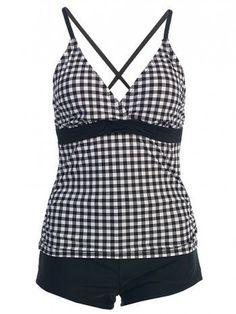 MW Tankini Boyshorts Swimsuit,  crisscross back, black/white gingham--think stand-up paddleboarding and summer!