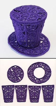 """Stitch out six freestanding lace pieces, then assemble them into a top hat. Embellish with ribbon, feathers, and jewels for a fashionable accessory. Size listed is for largest piece; finished hat is about 3.5"""" wide by 2.5"""" tall."""