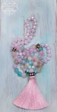 Pink Silk Tassel Necklace, Spring Gemstones Necklace, Pastel Colourful Boho Chic Necklace, Gift for her by VintageRoseGallery Tassel Jewelry, Pink Jewelry, Tassel Necklace, Beaded Jewelry, Pink Silk, Gemstone Necklace, As You Like, Crystal Beads, Making Ideas
