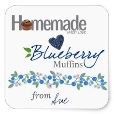 Custom Homemade Blueberry Muffin Stickers by Siberianmom of Zazzle.com