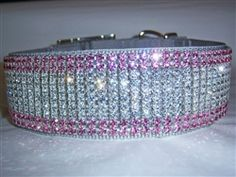2 inch Sparkling Princess Crystal Jeweled Pet Collar    Our gorgeous Sparkling Princess 2 inch wide dog collar is decorated with 10 rows of gorgeous light rose and clear Crystal. Perfect for big dogs, and also dogs with long necks like Greyhounds, Whippets, etc.