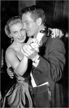 Joanne Woodward dancing with Paul Newman and her Best Actress Oscar for The Three Faces of Eve.