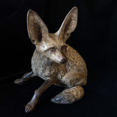 Ba-eared Fox by Neil Parkin. Limited edition bronze Cast at Bronz Editions Foundry, Stellenbosch, South Africa Bat Eared Fox, Bronze Sculpture, Kangaroo, South Africa, Sculptures, It Cast, Artist, Animals, Baby Bjorn