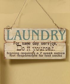 'Do It Yourself Laundry' Wall Sign #zulily #zulilyfinds