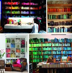 Color coordinated bookshelves