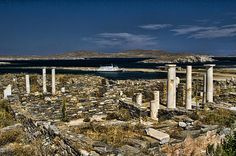 Delos Island, According to the Greek mythology, Delos was the birth place of Apollo, the god of light and maybe of Artemis, the twin-sister of Apollo, goddess of hunting.