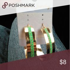 """Hoop Earrings Gold w/ Green & Silver Accents Light weight alloy. Clasp closure. Absolutely beautiful!!! 2""""-3""""  Items ship within 3 business days of payment. Jewelry Earrings"""