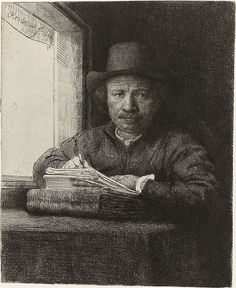 "Rembrandt van Rijn (Dutch, 1606–1669), ""Self-portrait Sketching at Window,"" 1648."
