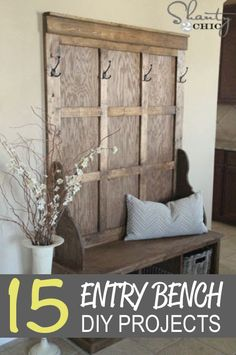 15 DIY Entry Bench Projects | http://homestead-and-survival.com/15-diy-entry-bench-projects/