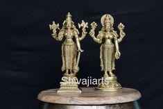 Vishnu Lakshmi Statue,8.5 Inch, Brass Standing Vishnu Laxmi, Narayana Statue, Narayan idol, Lakshmi Narayan sculpture, Lord Vishnu Idol by Shivajiarts on Etsy Lakshmi Statue, Brass, Copper, Rice