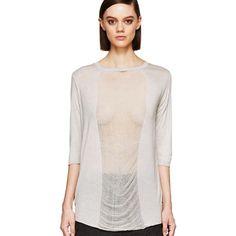 Raquell Allegra • shredded top ❌KEEPING❌Gorgeous ombréd sheer front long sleeve top. Fits a little loose for a medium. raquel allegra  Tops