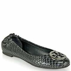 Tory Burch Reva Snakeskin Print Silver Flats Size 7 $149  One Savvy Design Consignment Boutique 74 Church Street, Montclair, NJ 973-744-0053 www.onesavvydesign.com