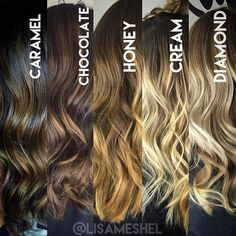 This is a great reference guide I like to show my clients when consulting about balayage. What's great is there are so many options whether you prefer warm or cool tones and if your hair is dark or li(Curly Hair Highlights)