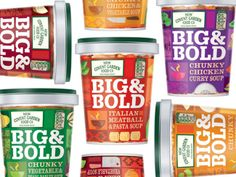 Big & Bold- Designed by Ziggurat Brands, United Kingdom. Good, filling, flavourful, chunky soups...brought alive by brilliant design.