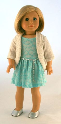 American Girl Doll Clothes - Spring Dress in Aqua Knit, Sparkly Knit Cardigan, and Chain Belt