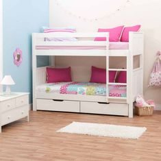 Charming Girls Bunk Beds: Bring In the Creativity and Playful Atmosphere: Minimalist White Girls Bunk Beds Storage Design Wooden Accents Floor ~ sayhihomes.com Bedroom Inspiration