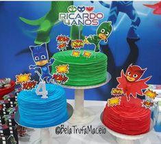 Inspire sua Festa ®   Blog sobre festas e maternidade Pj Masks Birthday Cake, Superhero Birthday Party, 4th Birthday Parties, Pjmask Party, Party Cakes, Birthday Party Centerpieces, Birthday Decorations, Henri 4, Festa Pj Masks