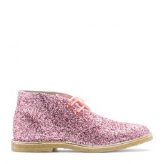 Dreamy pink desert boot immersed in fine glitter and finished with fluoro pink laces and fluoro orange eyelets.