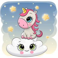 Cute Unicorn a on the Cloud. Cute Cartoon Unicorn is sitting a on the Cloud stock illustration Cartoon Unicorn, Unicorn Art, Baby Cartoon, Cartoon Kids, Cute Cartoon, Cartoon Art, Unicorn Images, Unicorn Pictures, Cute Rainbow Unicorn