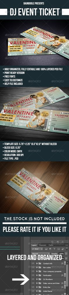 Vintage Event Ticket Template PSD Ticket Templates Pinterest - party tickets templates