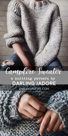 The Campfire Sweater Knitting Pattern Chunky Knit Sweater Pattern Darlingjadore , das campfire sweater strickmuster chunky knit sweater pattern darlingjadore , le modèle de tricot de pull de feu de camp motif de pull en tricot épais darlingjadore Pull Crochet, Knit Crochet, Chunky Crochet, Hexagon Crochet, Crochet Jumper, Tunisian Crochet, Crochet Stitch, Crochet Gifts, Knitting Patterns Free