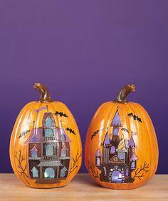 Spooktacular Home: Indoor Décor  -  Halloween LED Haunted House Pumpkin Set - Zulily