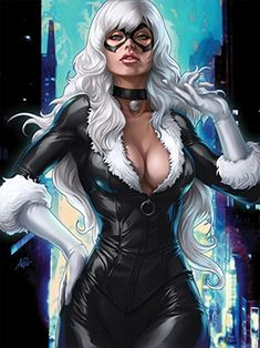 Felicia Hardy has worn a variety of different Black Cat costumes. Here you can see pictures and read about the outfits Black Cat has worn over the years in Spider-Man and the Marvel universe. Comic Book Characters, Comic Book Heroes, Marvel Characters, Comic Character, Comic Books Art, Female Characters, Comic Art, Marvel Heroines, Batgirl