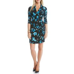 Women's Karen Kane 'Costa Maya' Print Cascade Faux Wrap Dress ($77) ❤ liked on Polyvore featuring dresses, print, flower print dress, floral print dress, ruched cocktail dress, pleated dress and wrap skirt