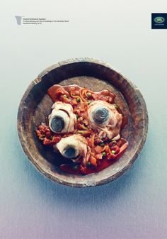 Also from the Land Rover print ad campaign on adventure. Here we find Windabeast eye-balls with pasta. Yum! I frankly think the campaign was in bad taste (pun intended!)