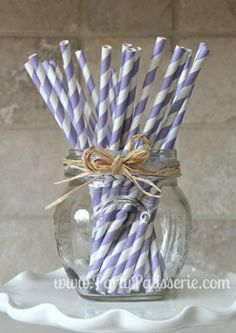 25 Lavender and White Striped Paper Party Straws. $4.25, via Etsy.
