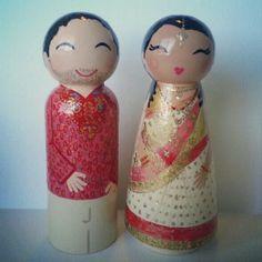 Indian bride and groom #handpaintedloveboxes.etsy.com