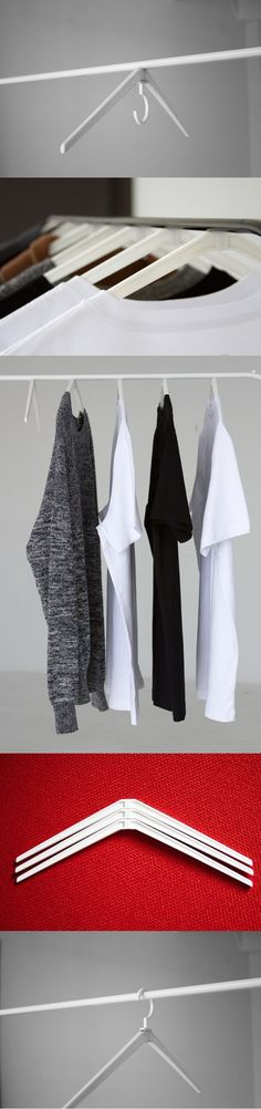 #Cling is a versatile hanger #concept that stands out for simultaneously enhancing the functionality and aesthetic of the hanger. The minimalistic design utilizes a strong magnet that not only gives it a cleaner look but is also better for clothing racks as it distributes the weight differently. Display your prized clothing in style and have your closet looking cooler than ever! #Yankodesign #Living #Indoor #Outdoor #Hanger #Design