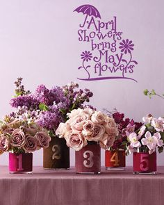 """""""April Showers Bring May Flowers"""" vinyl lettering for Spring or Easter home decor decals. See more at www.lacybella.com"""