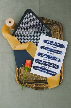 Indigo dyed wedding invitations