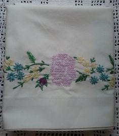 Vintage Pillowcase Embroidered Pillowcase White Cotton