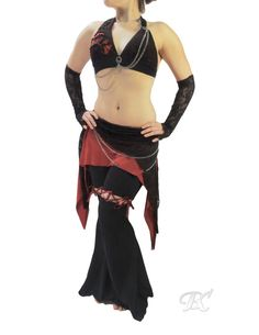 Tribal Fusion Hip Skirt and Bra Set / belly dance costume, tribal bellydance costuming, dance outfit, festival clothing, layered overskirt