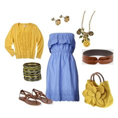 Blue and yellow. Created by olmy71. From polyvore